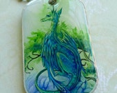 fantasy jewelry Emerald Dragon dog tag id art necklace - double sided