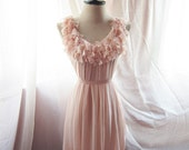 Soft Blush Misty Rose Tea Pink Dreamy Romantic Havisham Mille Feuille Heart Cutouts Chiffon Flowy Dress