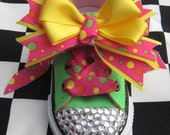 Bling - Rhinestone Studded Neon Green/Hot Pink Converse Low Top Shoes with Bow Clips