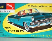 Vintage Retro 55 Ford Fairlane Sunliner Model Car Kit BOX