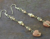 Earrings With Pink Glass Heart And Pearl Freshwater