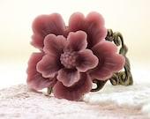 Rose Pink Sakura Flower Brass Filigree Ring