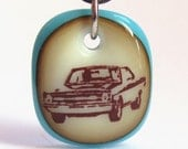 Dodge Dart. A fused glass pendant necklace.