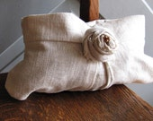 Pleated Linen Clutch with Rose and Pearls