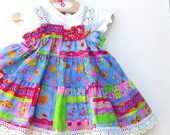 Girl's Twirl Dress. Blue Potpourri 100% cotton designer fabric with Cluney Lace Trim. Handmade. Spring Summer Fashion 2011