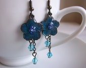Blue Blossoms earrings - blue enammeled flowers with blue Swarovski crystals - handmade