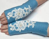FREE SHIPPING Sky blue hand felted mittens fingerless ooak