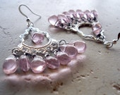 Victorian Chandelier Earrings Pink and Silver