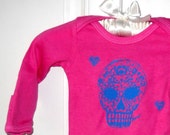 Sugar Skull long sleeved baby onesie bodysuit in pink and turquoise or custom colors