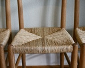 1960s era White Oak Dining Chair with Natural Rush Woven Seat