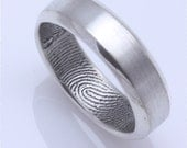 Bevelled edge custom fingerprint wedding band in sterling silver