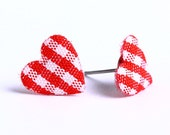 Red and white plaid padded heart fabric stud earrings