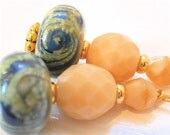 HUGE SALE-15% off Today Sparkling Cream and Blue Swirling Handmade Lampwork Bead Earrings