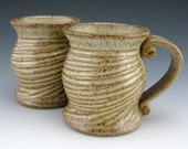Sweetly Carved Handmade Pottery Mugs - 8 oz - Frosty Brown with  Full Carving - Ready to Ship