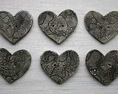 Black Lace Heart Buttons