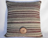 Pillow Cover Light Olive Chenille Stripes in Cranberry, Deep Olive, Tan. Accent Wood Button