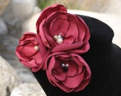 Valentine-Red Satin Flower Brooch