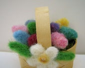 Needle felted eggs and daisy decorated basket