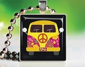 Scrabble Tile Pendant - Yellow Love Bus (OMP500)