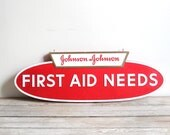vintage johnson & johnson first aid needs store display sign