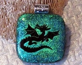 Etched Dragon Dichroic Fused Glass Pendant