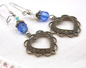 Heart Earrings Blue Crystal Antiqued Silver Victorian Style