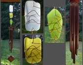 Windchime Stained Glass Beach Glass Aged Copper