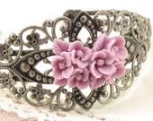 Bracelet Pink Flower  Victorian Style Antiqued Silver Flower Cuff