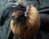 big plume brown and black  feathered hair clip