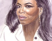 Handpainted Watercolor Portrait Oprah Winfrey