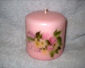 Pink Flowered Pillar Candle