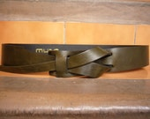 Olive Green Leather MUSE Belt 1 1/2 inches Free Shipping and Nickel-Free