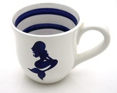 Mermaid Nautical Navy Blue and White Large Mug