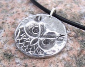 Owl Necklace, round pendant with hammered texture