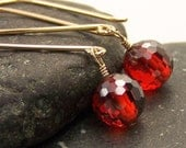 Red Cubic Zirconia Earrings in Gold