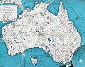 Vintage Maps - 1930s Australia - A Fun and Funky Vintage Picture Map to Frame