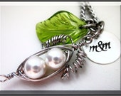 Peas in a Pod PeaPod Wire Wrapped with Stainless Steel, Hand Stamped Sterling Silver Tag, for Couples, Mothers, Grandmothers, Sisters, Best friends