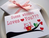ON SALE Set of 6 Love you Owl Card, Valentines day Pink cute owl