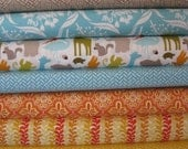 Kate Spain Fabric, Central Park, For Him, in FAT QUARTERS, 9 Total
