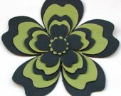Floral leather hair clip, olive green/light green flower