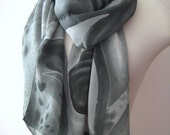 Miles Davis inspired hand painted crepe silk scarf in gray