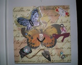 She Dreams of Flight 1 - Part 1 in my 4-part series of OOAK Altered Art Collage Mixed Media Plaques with Jewelry Butterflies Dragonflies and Paper Flowers