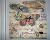 She Dreams of Flight 2 - Part 2 in my 4-part series of OOAK Signed Altered Art Collage Mixed Media Plaques with Jewelry Butterflies Dragonflies and Paper Flowers