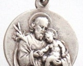 Saint Joseph Vintage Medal on 18 inch sterling silver bead chain