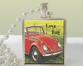 VW Bug Altered Art Glass Tile Silver Pendant Necklace w/FREE chain & gift box