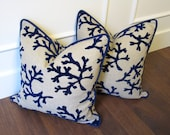 Navy Velvelt Coral - decorative pillow cover 18x18inch