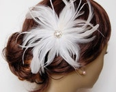 White Wine Spritzer Feather Fascinator : F012 made to order