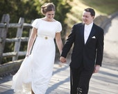Jane Austen Ivory silk blend and chiffon wedding gown