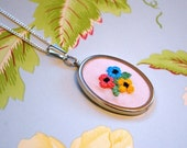 Embroidered Flower Pendant Pink Floral Necklace