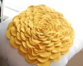 Rose Pillow in Mustard Yellow Pure Wool Felt/Ivory Linen